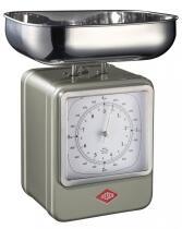 Wesco Küchenwaage Retro mit Küchenuhr in neusilber