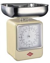 Wesco Küchenwaage Retro mit Küchenuhr in mandel