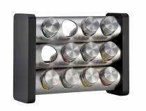 Küchenprofi Gewürzständer mit 12 Gläsern in schwarz, rechteckig