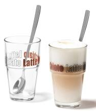 Leonardo Becher Latte Macchiato mit Löffeln Solo, 2er Set