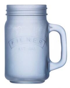 Kilner Trinkglas mit Griff in blau, mattiert