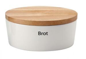 Continenta Brottopf oval aus Keramik mit Holzdeckel