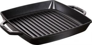 Staub Grillpfanne mit Seitengriffen quadratisch in schwarz