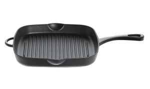 Küchenprofi Grillpfanne hoch aus Gusseisen in schwarz