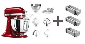 KitchenAid Küchenmaschine ARTISAN 175PS in empire rot mit Nudelvorsatz
