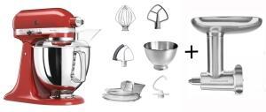 KitchenAid Küchenmaschine ARTISAN 175PS in empire rot mit Fleischwolf aus Metall