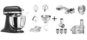 KitchenAid Küchenmaschine ARTISAN 175PS gusseisen schwarz Fitness-Set