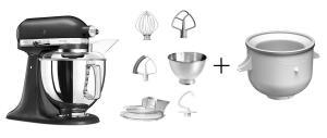 KitchenAid Küchenmaschine ARTISAN 175PS in gusseisen schwarz mit Speiseeismaschine