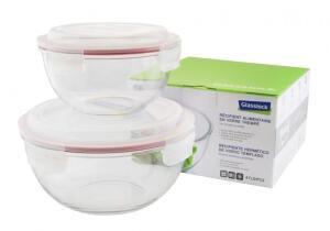 Glasslock Frischhaltebehälter rund, klein, 2er-Set (1000 ml, 2000 ml)