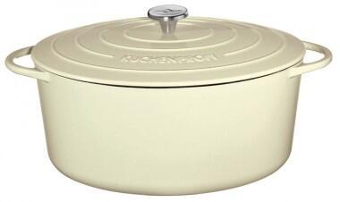 Küchenprofi Bratentopf oval aus Gusseisen in creme