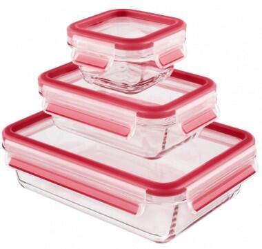 Emsa Frischhaltedosen Set Clip & Close aus Glas, 3-teilig