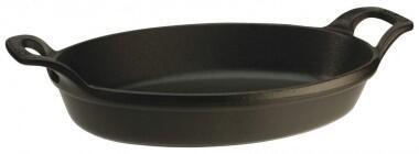 Staub Auflaufform oval aus Gusseisen in schwarz