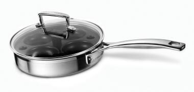 Le Creuset Sauté-Pfanne 3-ply mit Pochiereinsatz