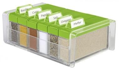 Emsa Gewürz-Kartei Spice Box mit 6 Gewürzen in grün