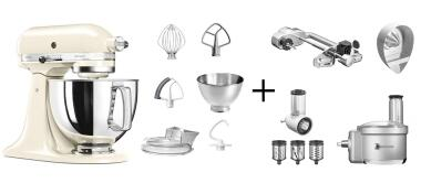KitchenAid Küchenmaschine ARTISAN 175PS creme Fitness-Set