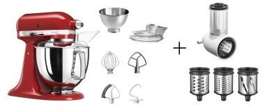 KitchenAid Küchenmaschine ARTISAN 175PS in empire rot mit Gemüseschneider