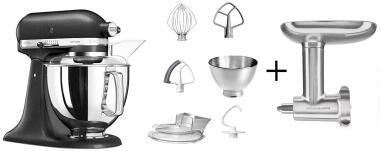 KitchenAid Küchenmaschine ARTISAN 175PS in gusseisen mit Fleischwolf aus Metall