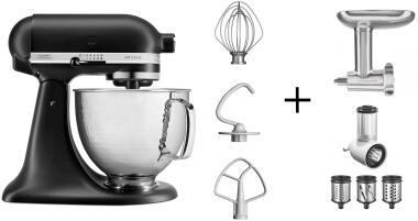 KitchenAid Küchenmaschine ARTISAN 156PS mattschwarz Kochprofi-Set