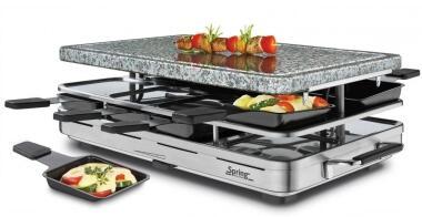 Spring Raclette8 mit Granitstein in Edelstahl