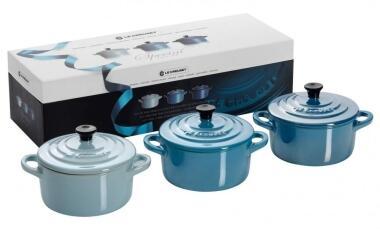 Le Creuset Mini-Cocotten blau glänzend, 3er-Set