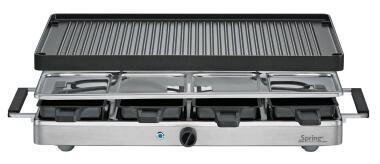 Spring Raclette8 Classic mit Alu-Grillplatte in Edelstahl