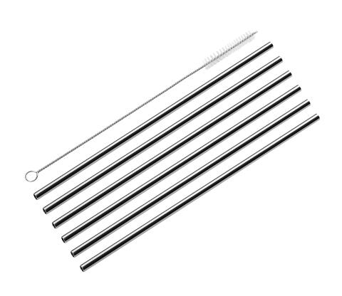 Cilio Trinkhalme Steel, 6er Set, gerade