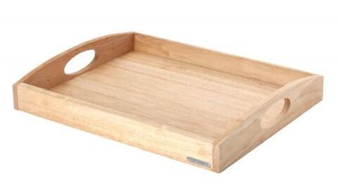 Continenta Tablett rechteckig mit Griffen aus Gummibaumholz