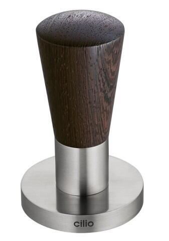 cilio Espressodrücker aus Edelstahl/Zebrano