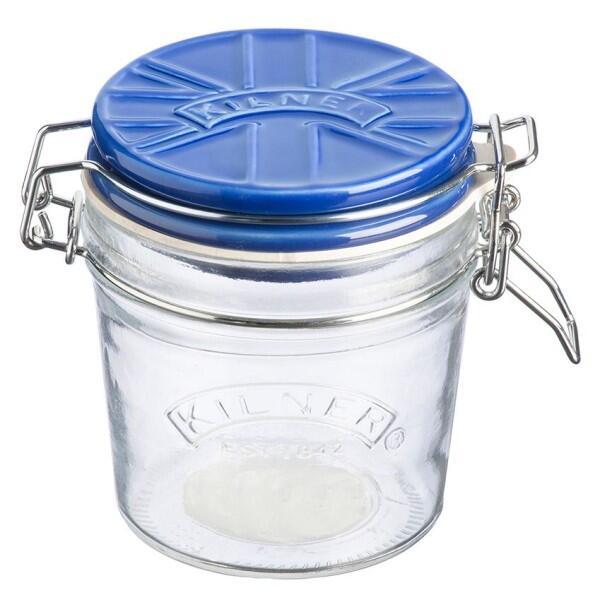Kilner Clip Top Einmachglas mit blauem Keramikdeckel, 0,35 Liter