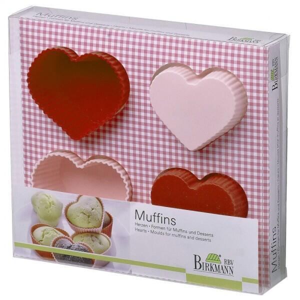 Birkmann Muffinform Herzen, 4-teilig