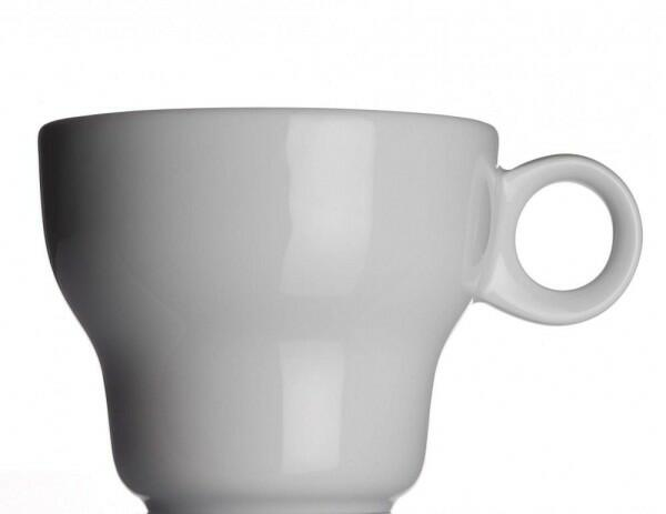 Modern Classic Café au lait Tasse von Porzellanfabrik Walküre, weiß