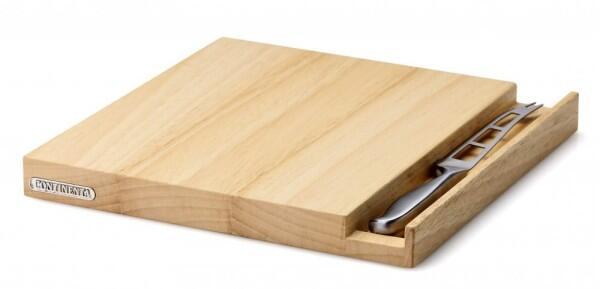 Continenta Käsebrett aus Gummibaumholz mit Messer
