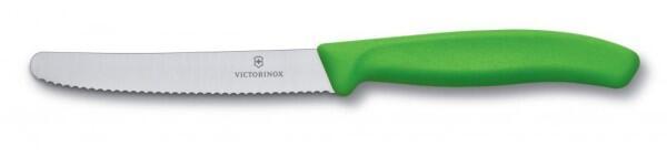 Victorinox SwissClassic Tomaten- und Wurstmesser mit Wellenschliff, 11 cm, grün