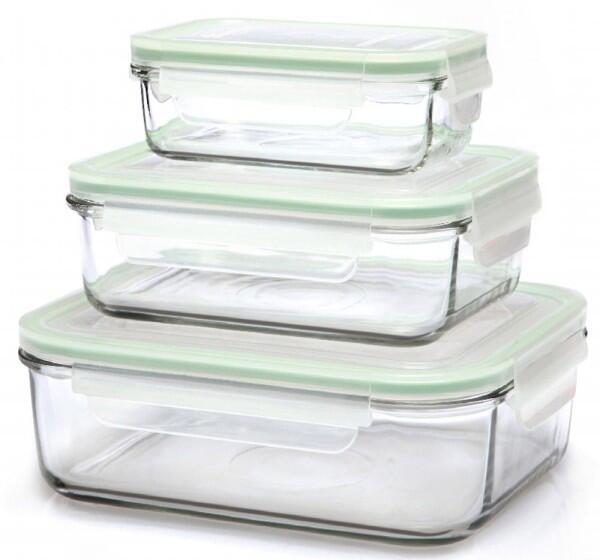 Glasslock Frischhaltebehälter rechteckig, 3er-Set (400ml, 1000ml u. 2000ml)