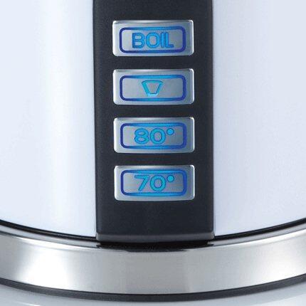 Neben der Handbrüh-Taste für Filterkaffee (+/- 93°C) bieten der Wasserkocher WK 701 ebenfalls die Möglichkeit das Wasser über Tastenwahl auf 70°C bzw. 80°C zu erhitzen