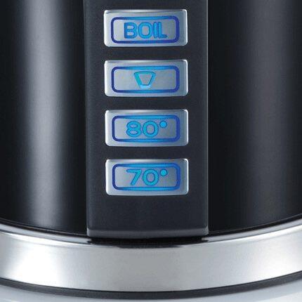 Neben der Handbrüh-Taste für Filterkaffee (+/- 93°C) bieten der Wasserkocher WK 702 ebenfalls die Möglichkeit das Wasser über Tastenwahl auf 70°C bzw. 80°C zu erhitzen