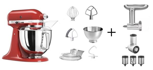 KitchenAid Küchenmaschine ARTISAN 175PS empire rot Kochprofi-Set