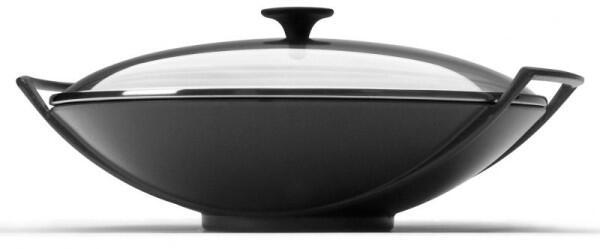 Le Creuset Wok aus Gusseisen mit Glasdeckel in schwarz