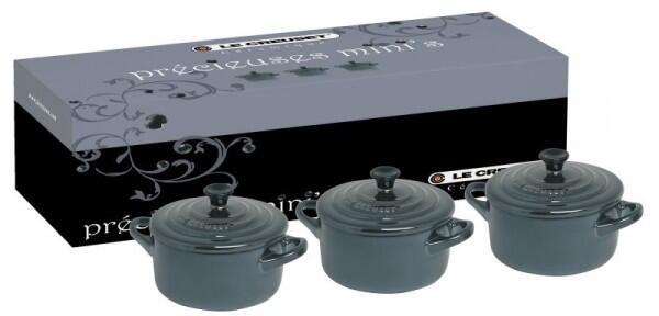 Le Creuset Mini-Cocotten Schwarz-Silber, 3er-Set