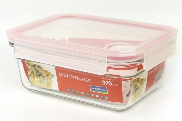 Glasslock Frischhaltebehälter rechteckig mit Luftventil, ofengeeignet, 970 ml
