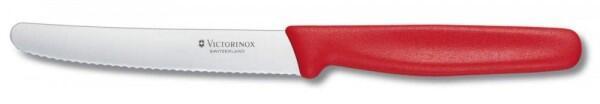 Victorinox Tomaten- und Wurstmesser mit Wellenschliff, gerader Griff, 11 cm, rot