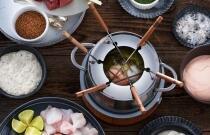 Mediterranes Bohnen-Curry mit gebratenem Tintenfisch