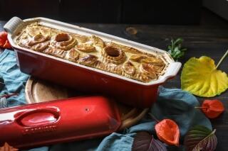 Pastete mit Entenbrust, Pflaumen und Pistazien