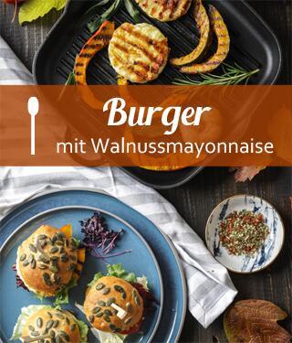 Burger mit Kürbis, Grillkäse und Walnussmayonnaise