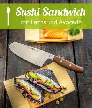 Sushi Sandwich mit Lachs und Avocado