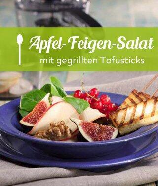 Apfel-Feigen-Salat mit Mango-Vinaigrette und gegrillten Tofusticks