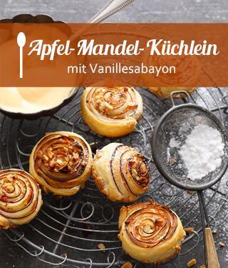 Apfel-Mandel-Küchlein mit Vanillesabayon