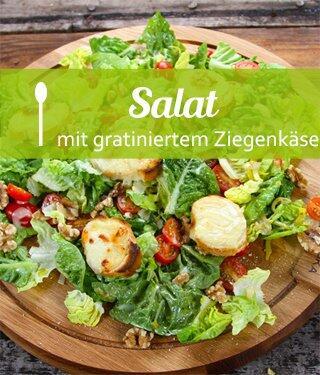 Salat mit gratiniertem Ziegenkäse