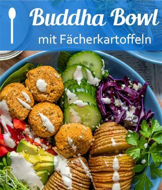 Buddha Bowl mit Fächerkartoffeln, Falafeln und Joghurt-Tahin Dressing