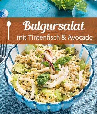 Bulgursalat mit Tintenfisch, Avocado und Stangensellerie
